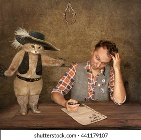 That is a picture of the tale Puss in Boots.The youngest son of the miller is writing  his wishes. His cat is going to execute all of them.