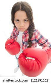 That is what I think. Girls power. Every kid should know how defend own point of view. Girl seriously defending her opinion. Child serious face with gloves practice boxing skills isolated white.