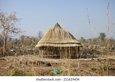 Thatch roofed hut being built in South Sudan
