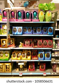 THATCHAM, BERKSHIRE - MARCH 31, 2018: Chocolate Easter eggs for sale at Waitrose in Thatcham, Berkshire, UK.