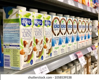 THATCHAM, BERKSHIRE - MARCH 31, 2018: Dairy free milk products on sale at Waitrose supermarket in Thatcham, Berkshire, UK.