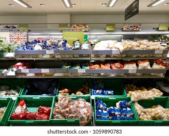 THATCHAM, BERKSHIRE - MARCH 31, 2018: Varieties of potatoes on sale at Waitrose supermarket in Thatcham, Berkshire, UK.