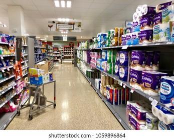 THATCHAM, BERKSHIRE - MARCH 31, 2018: Varieties of toilet tissue on sale at Waitrose supermarket in Thatcham, Berkshire, UK.