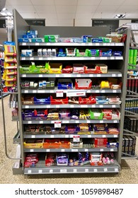 THATCHAM, BERKSHIRE - MARCH 31, 2018: Varieties of chewing gum and confectionery sweets on sale at Waitrose supermarket in Thatcham, Berkshire, UK.