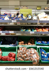 THATCHAM, BERKSHIRE - MARCH 31, 2018: Varieties of potatoes on sale at Waitrose supermarket in Thatcham, Berkshire, UK.