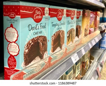 THATCHAM, UK - SEPTEMBER 23, 2018: Varieties of boxed cake mix products on sale at Waitrose & Partners supermarket in Thatcham, Berkshire, UK.