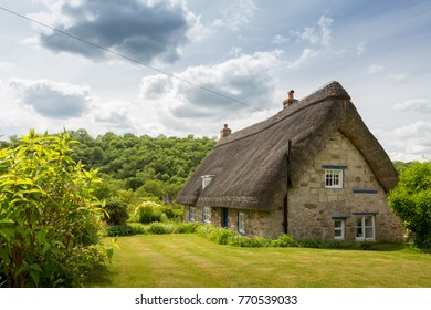 Thatched cottage and green lawn in a rural scene in the countryside