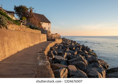A thatched fisherman's cottage overlooking Runswick Bay in the North York Moors National Park. February