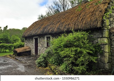 Thatched house in an Irish village.