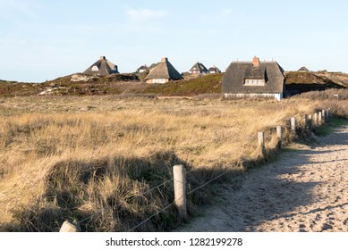 Thatched houses in the dunes of Hörnum on the island of Sylt the 01.09.2019