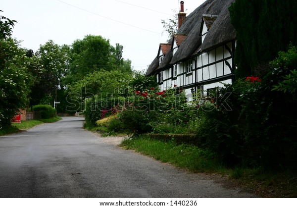 Thatched houses in an Oxfordshire village