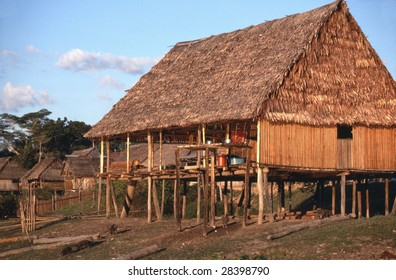 A thatched hut along the Rio Tayaho, a tributary of the Amazon near Iquitos, Peru