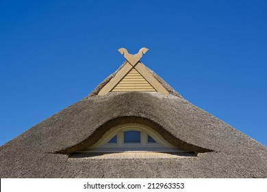 thatched roof and blue sky at the German Baltic Sea coast, Germany, Europe