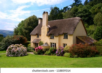 Thatched roof cottage in Selworthy village Somerset