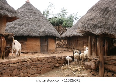 thatched roof huts are typical homes of the Konso people of Ethiopia