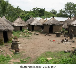 Thatched roof mud huts are typical of tribal architecture in the grasslands of the African savannah