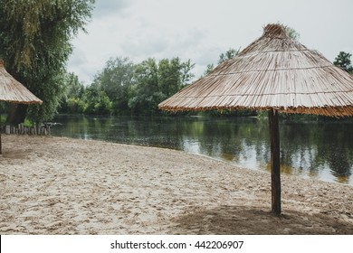 Thatched roof on the beach