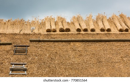 Thatcher thatching a roof of a house with new straw.Thatched roof of a home with tools