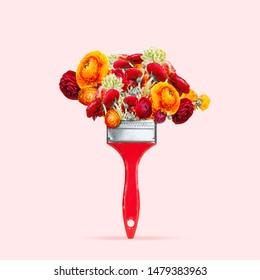 Das ist die Kunst der Natur. Zeichnung und Malerei mit hellroten Blumen als Farbe auf Korallenhintergrund. Negativer Platz zum Einfügen des Textes. Modernes Design. Zeitgenössische Kunstcollage.