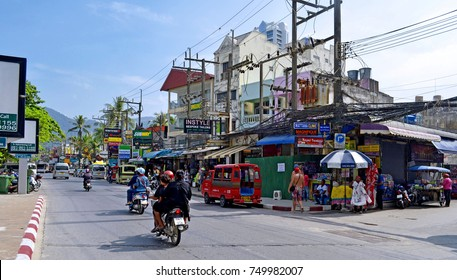 Thawewong Road in Patong - Thawewong Road is the street along the 3,5 km long Patong beach. New buildings are regularly built. - October 17, 2014