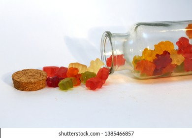 THC and CBD Gummy candies. Medical and Recreational Gummy candies. room for text.