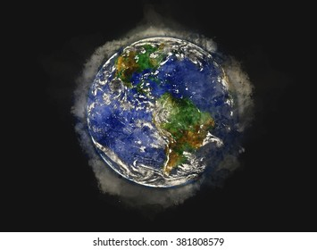 """The Blue Marble"" Planet Earth - Water Paint Artwork (Elements of this image furnished by NASA)"