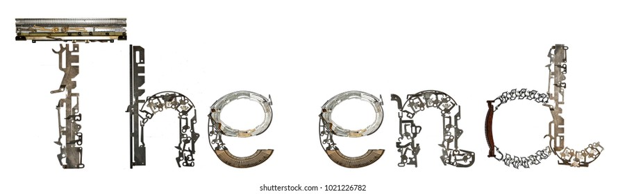 """""""The end"""" word assembled from metallic parts, isolated on white"""