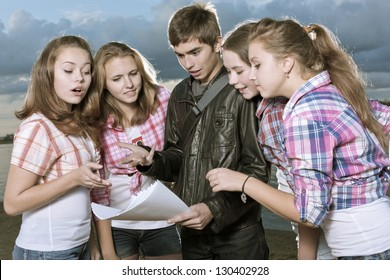 The guy shows girls documents