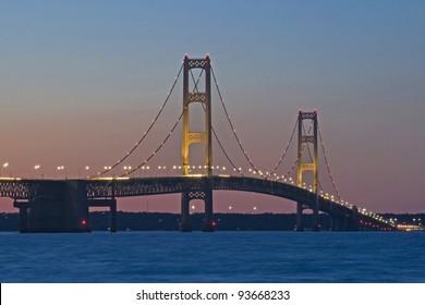 """The Mighty"" -- Mackinac Bridge at twilight - Mackinaw City, Michigan, USA,"