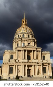 """The National Residence of the Les Invalides in Paris France , stormy sky- travel and architecture background"""