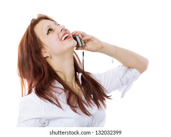 The red-haired girl calls by phone