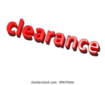 the word clearance, red on white background