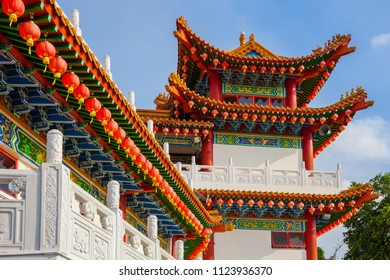 Thean Hou Temple decorated with red Chinese lanterns, Kuala Lumpur, Malaysia