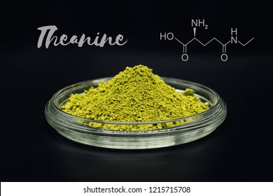 Theanine, amino acid found in green tea. Picture is with matcha tea, that contains up to five times as much L-theanine as regular green tea, therefore it is one of the best sources of theanine.