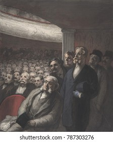 A THEATER AUDIENCE, by Honore Daumier, 1830-1860, American watercolor painting. An all male theater audience, sitting and standing as they gaze toward the stage. This style of this watercolor is simil