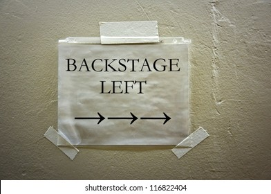 Theater backstage left sign