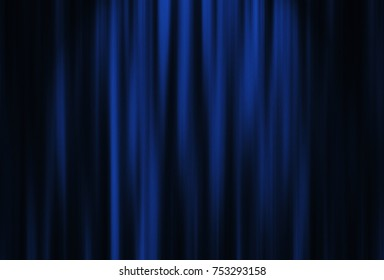 Theater blue curtain with spot lighting