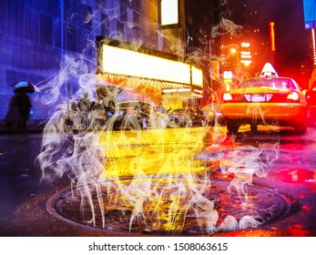 Theater for Broadway shows, city street by night with local taxi and a smoking manhole, New York city in Manhattan, United States.