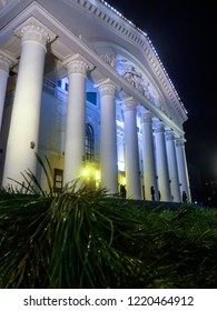 The theater building in the city of Kaluga in Central Russia at night. The city theatre is one of the architectural monuments of Kaluga.