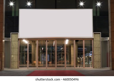 Theater, cinema or business building with blank advertising columns. Mockup