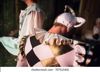 theater, clothing, dramatic art concept. close up of back of man wearing character costume for playing the role of the court jester, it has poofy sleeves, triple pleated mushroom collar and fools cap