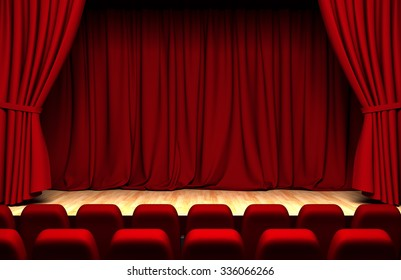 Theater curtain  with chairs