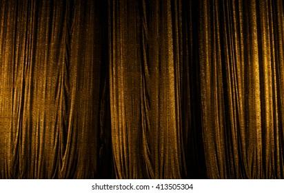 theater curtain scene, gold