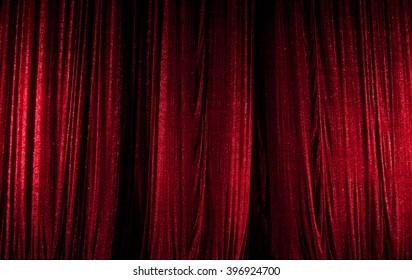 theater curtain scene, red
