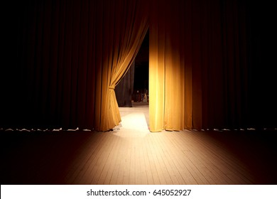 Theater curtains with center light.