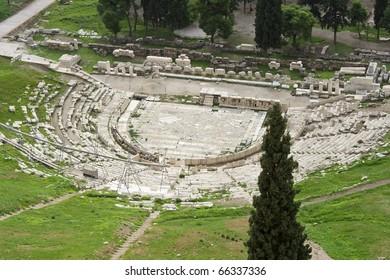 Theater of Dionysus ruins, Acropolis, Athens, Greece, Europa,