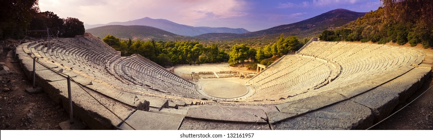 The theater of Epidaurus in Peloponnese, Greece. It was built in the 4th century BC and seats up to 15000 people. It is also famous for its exceptional acoustics.