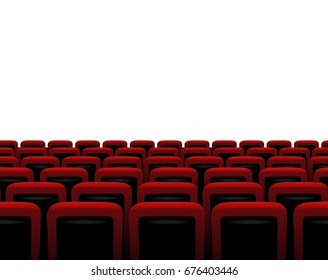 Theater horizontal seamless pattern with red armchairs. Raster copy.