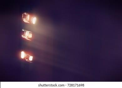 theater light in dark cinema background