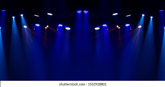 Theater lights spotlights over the stage, texture background for design.